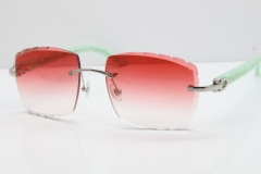 Cartier Rimless 8300816 Marble Green Aztec Sunglasses In Silver Red Lens