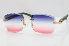 Cartier Rimless 8300816 Green Aztec Sunglasses In Gold Blue Mix White Pink Lens