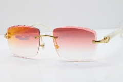 Cartier Rimless 8300816 Marble White Aztec Sunglasses In Gold Red Mirror Lens