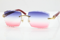 Cartier Rimless 8300816 Marble Red Aztec Sunglasses In Gold Blue Mix White Pink Lens