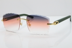 Cartier Rimless 8300816 Green Aztec Sunglasses In Gold Purple Mix Orange White Lens