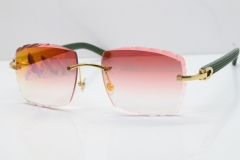Cartier Rimless 8300816 Green Aztec Sunglasses In Gold Red Mirror Lens