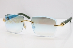 Cartier Rimless 8300816 Green Aztec Sunglasses In Gold Blue Mirror Lens