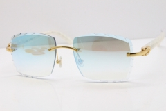 Cartier Rimless 8300816 Marble White Aztec Sunglasses In Gold Blue Mirror Lens