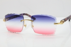 Cartier Rimless 8300816 Marble Purple Aztec Sunglasses In Gold Blue Mix White Pink Lens
