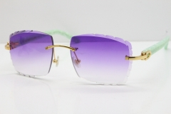 Cartier Rimless 8300816 Marble Green Actec Sunglasses In Gold Purple Lens