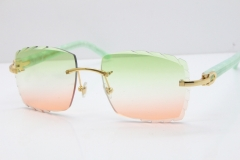 Cartier Rimless 8300816 Marble Green Actec Sunglasses In Gold Mix Green Pink Lens