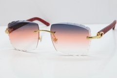 Cartier Rimless 8300816 Marble Red Aztec Sunglasses In Gold Purple Mix Orange White Lens