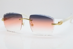 Cartier Rimless 8300816 Marble White Aztec Sunglasses In Gold Purple Mix Orange White Lens