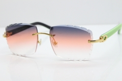 Cartier Rimless 8300816 Black Inside Green Aztec Sunglasses  In Gold Purple Mix Orange White Lens