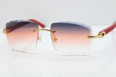 Cartier Rimless 8300816 Red Aztec Sunglasses In Gold Purple Mix Orange White Lens