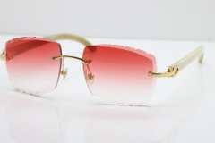 Cartier Rimless 8300816 White Horn Buffalo Sunglasses In Gold Red Lens