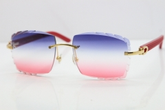 Cartier Rimless 8300816 Red Aztec Sunglasses In Gold Blue Mix White Pink Lens