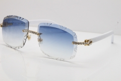 Cartier Rimless 8200762 Big Diamond White Aztec Arms Sunglasses In Gold Blue Lens