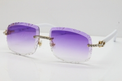 Cartier Rimless 8200762 Big Diamond White Aztec Arms Sunglasses In Gold Purple Lens