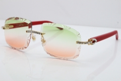 Cartier Rimless 8200762 Big Diamond Red Aztec Arms Sunglasses In Gold Green Brown Lens