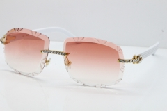 Cartier Rimless 8200762 Big Diamond White Aztec Arms Sunglasses In Gold Pink Lens