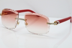 Cartier Rimless 8200762 Big Diamond Red Aztec Arms Sunglasses In Gold Pink Lens
