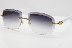 Cartier Rimless 8200762 Big Diamond White Aztec Arms Sunglasses In Gold Gray Lens