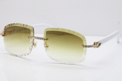 Cartier Rimless 8200762 Big Diamond White Aztec Arms Sunglasses In Gold Brown Lens
