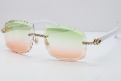 Cartier Rimless 8200762 Big Diamond White Aztec Arms Sunglasses In Gold Green Brown Lens