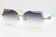 Cartier Rimless T8200762 Big Diamond Marble Green Aztec Arms Sunglasses In Gold Gray Lens