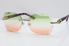 Cartier Rimless T8200762 Big Diamond Purple Aztec Arms Sunglasses In Gold Green Brown Lens