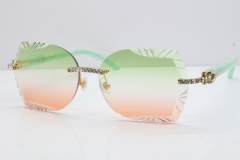 Cartier Rimless T8200762 Big Diamond Marble Green Aztec Arms Sunglasses In Gold Green Brown Lens