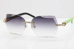 Cartier Rimless T8200762 Big Diamond Black Inside Green Aztec Arms Sunglasses In Gold Gray Lens