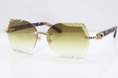 Cartier Rimless T8200762 Big Diamond Purple Aztec Arms Sunglasses In Gold Brown Lens