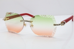 Cartier Rimless T8200762 Big Diamond Red Aztec Arms Sunglasses In Gold Green Brown Lens