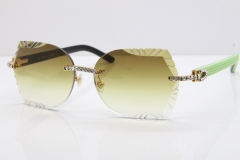 Cartier Rimless T8200762 Big Diamond Black Inside Green Aztec Arms Sunglasses In Gold Brown Lens