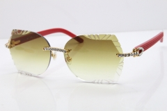 Cartier Rimless T8200762 Big Diamond Red Aztec Arms Sunglasses In Gold Brown Lens