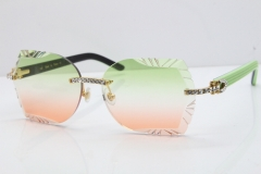 Cartier Rimless T8200762 Big Diamond Black Inside Green Aztec Arms Sunglasses In Gold Green Brown Lens