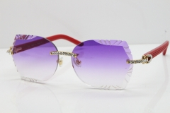 Cartier Rimless T8200762 Big Diamond Red Aztec Arms Sunglasses In Gold Purple Lens