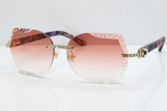 Cartier Rimless T8200762 Big Diamond Purple Aztec Arms Sunglasses In Gold Pink Lens