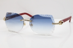 Cartier Rimless T8200762 Big Diamond Marble Red Aztec Arms Sunglasses In Gold Blue Lens