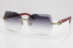 Cartier Rimless T8200762 Big Diamond Marble Red Aztec Arms Sunglasses In Gold Gray Lens