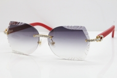 Cartier Rimless T8200762 Big Diamond Red Aztec Arms Sunglasses In Gold Gray Lens