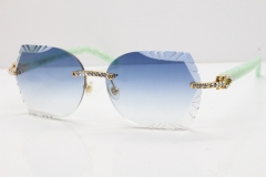 Cartier Rimless T8200762 Big Diamond Marble Green Aztec Arms Sunglasses In Gold Blue Lens