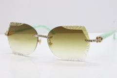 Cartier Rimless T8200762 Big Diamond Marble Green Aztec Arms Sunglasses In Gold Pink Lens