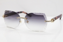 Cartier Rimless T8200762 Big Diamond Purple Aztec Arms Sunglasses In Gold Gray Lens