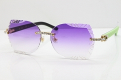 Cartier Rimless T8200762 Big Diamond Black Inside Green Aztec Arms Sunglasses In Gold Purple Lens