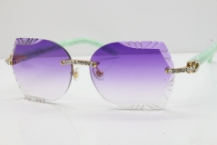 Cartier Rimless T8200762 Big Diamond Marble Green Aztec Arms Sunglasses In Gold Purple Lens