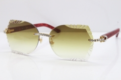 Cartier Rimless T8200762 Big Diamond Marble Red Aztec Arms Sunglasses In Gold Brown Lens