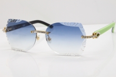 Cartier Rimless T8200762 Big Diamond Black Inside Green Aztec Arms Sunglasses In Gold Blue Lens