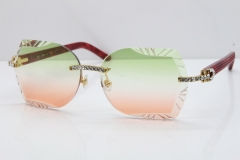 Cartier Rimless T8200762 Big Diamond Marble Red Aztec Arms Sunglasses In Gold Green Brown Lens