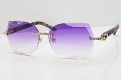 Cartier Rimless T8200762 Big Diamond Purple Aztec Arms Sunglasses In Gold Purple Lens