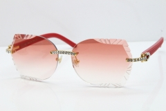 Cartier Rimless T8200762 Big Diamond Red Aztec Arms Sunglasses In Gold Pink Lens