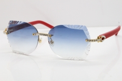 Cartier Rimless T8200762 Big Diamond Red Aztec Arms Sunglasses In Gold Blue Lens